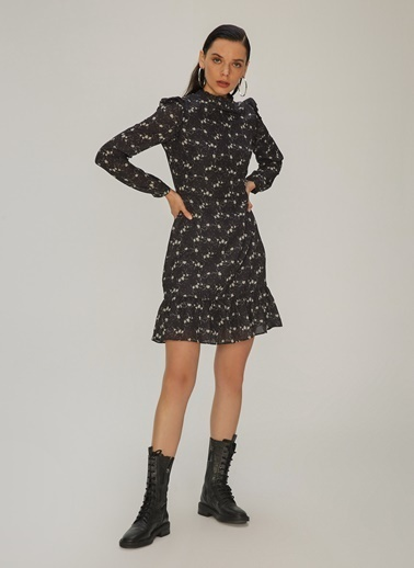 NGSTYLE Volan Detaylı Elbise Somon